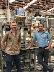 Ashley Hazell, Colonial Brewing Head Brewer, with Matthew Macfarlane, HBM Area Sales Manager